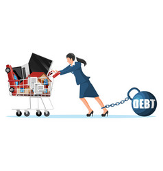 Woman with debt weight pulling shopping cart vector