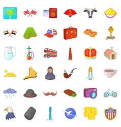 world tour icons set cartoon style vector image