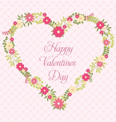 Happy Valentines Day greeting card with flowers in vector image vector image