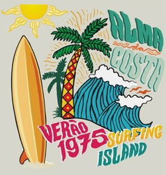 surfing island vector image vector image