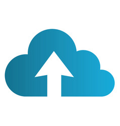 color silhouette with cloud upload service vector image