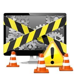 Computer repair with cones vector