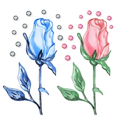 Pink blue roses buds with diamonds vector image vector image