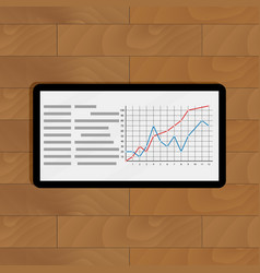 tablet with graphic vector image vector image