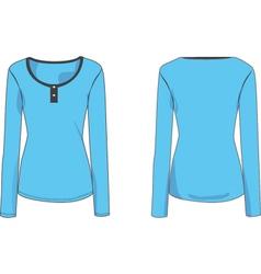 womens long sleeve henley tshirt 2d flat vector image vector image