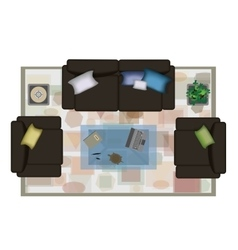 Interior icons top view with sofa armchair couch vector image