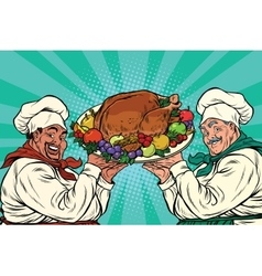 multi-ethnic chefs with roast Turkey vector image