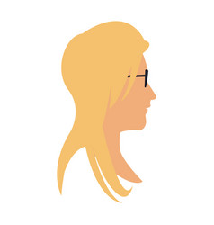 Profile head blonde woman with sunglasses vector