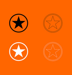 Star in circle black and white set icon vector