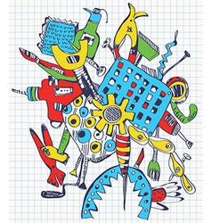 Tools doodle on paper vector image vector image