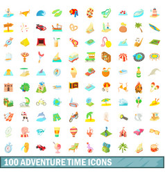 100 adventure time icons set cartoon style vector image