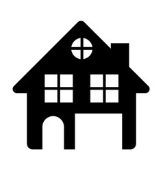 black silhouette of house two floors and attic in vector image