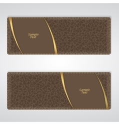 Elegant brown leather horizontal banner with two vector image vector image
