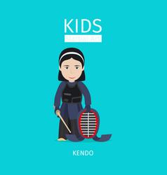 Kids martial art kendo girl vector
