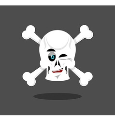 Laughing Skull winks emotion Crossbones Cheerful vector image