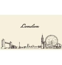 London skyline hand drawn engraved sketch vector image