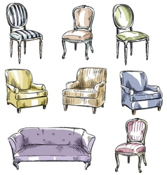 set of hand drawn chairs and sofas vector image