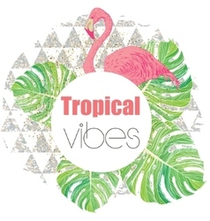 Tropical exotic summer print with palm leaves and vector image vector image