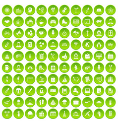 100 team building icons set green circle vector