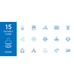 15 legal icons vector