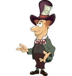 A business man gnome with money cartoon vector image