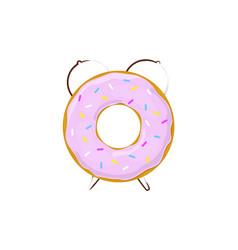 alarm clock donut breakfast time vector image