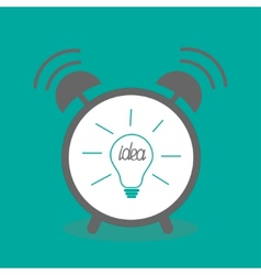Alarm clock with idea light bulb icon Flat design vector