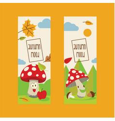 amanita mushrooms pattern background set vector image