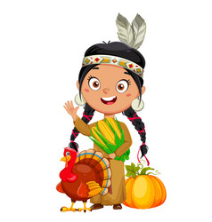 American indian girl cute cartoon character vector