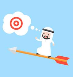 Arab saudi businessman stand on flying arrow vector