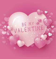 Be my valentine design pink heart background vector