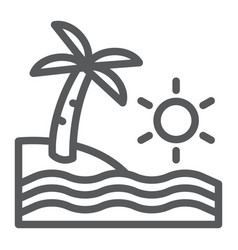 beach line icon travel and vacation sea sign vector image