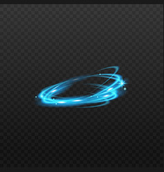 blue magic light ring motion isolated on dark vector image