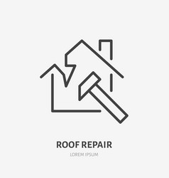 Broken roof roofing flat line icon house vector
