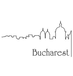 Bucharest city one line drawing background vector