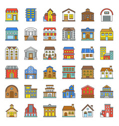 building construction filled outline icon set 33 vector image