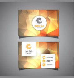 business card template with low poly design vector image
