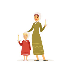 cartoon character of mother and her daughter in vector image