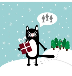 cat with present vector image vector image