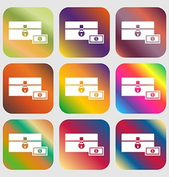 Chest icon Nine buttons with bright gradients for vector
