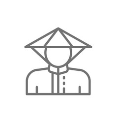 chinese man in traditional hat line icon vector image