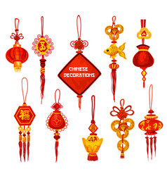 Chinese new year ornament icon of lantern and coin vector