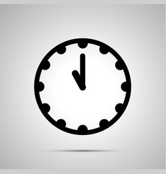 clock face showing 11-00 simple black icon on vector image