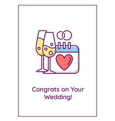 congrats on wedding greeting card with color icon vector image
