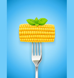 corn cob at fork organic vector image