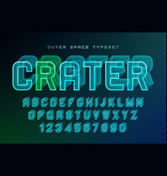 Crater futuristic decorative font design vector