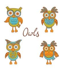 Cute funny owls vector