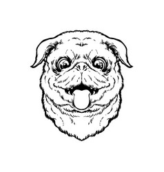 cute pug dog sticking tongue outline silhouette vector image