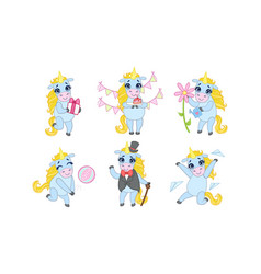 cute unicorn cartoon character set adorable vector image