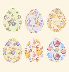 decorative easter eggs set vector image